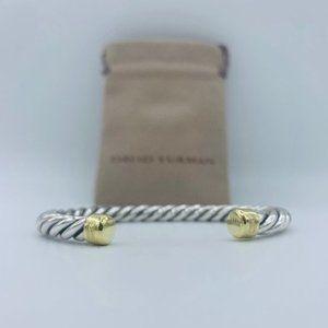 David Yurman 18k Yellow Gold & Silver Cable Bangle